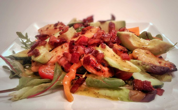 Mango & Lime Marinaded Chicken Salad With Bacon & Avocado