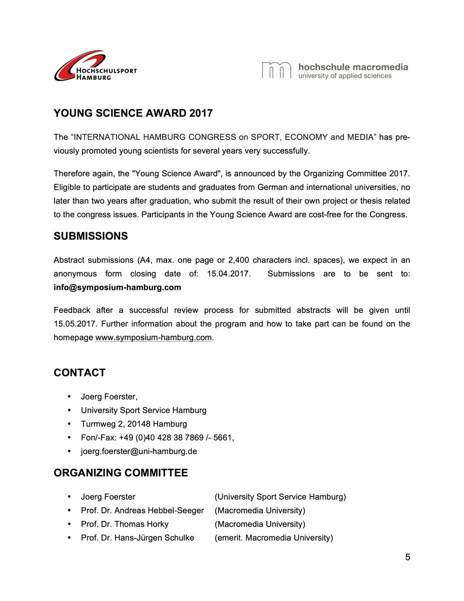 Media Service Hamburg symposium hamburg on second call for paper for the 17th