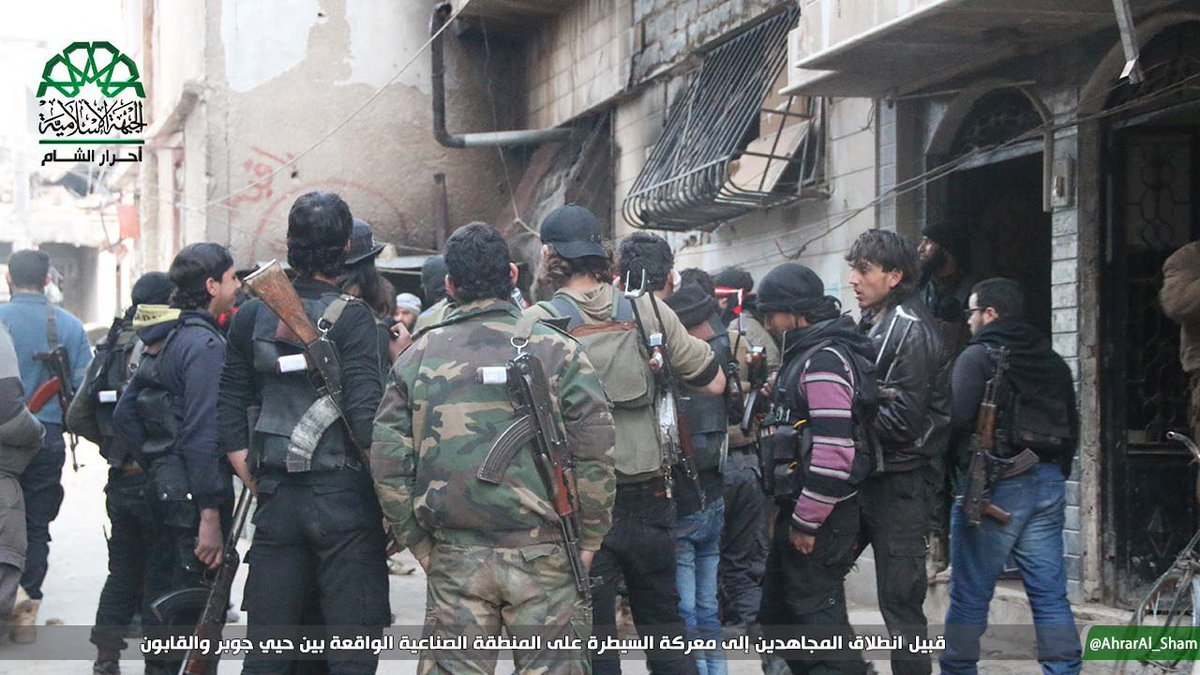 East Damascus: Ahrar Al-Sham fighters before starting the battle to control Qabun Industrial Area.