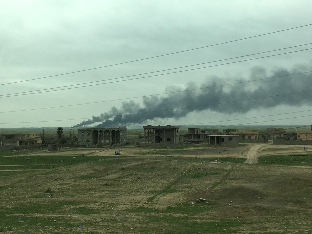 Oil wells in Iraq's Qayyarah area still burning over seven months after IS set them alight.
