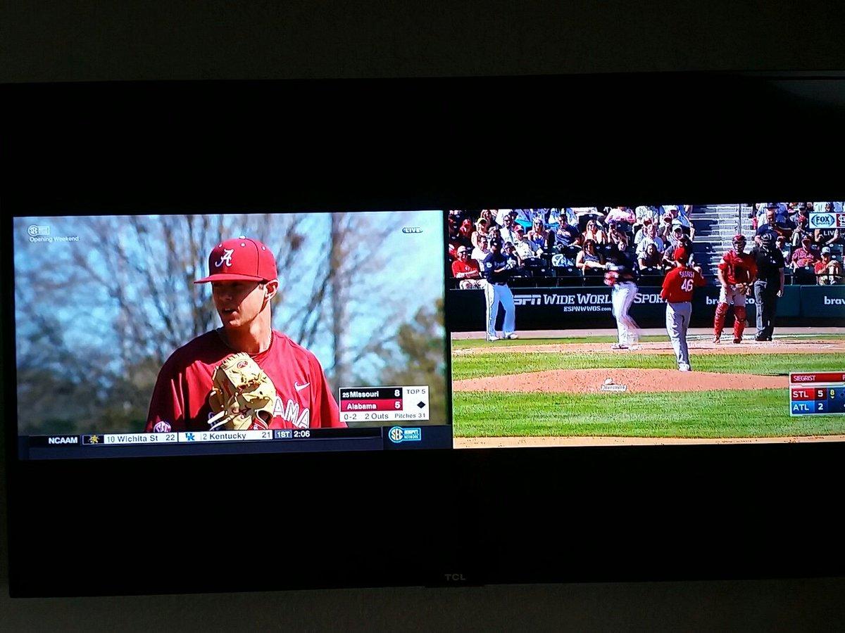 March Madness is on yet I&#39;m split-screening baseball games #BaseballFan  #Mizzou #STLCards<br>http://pic.twitter.com/Q5GKHFRZO5