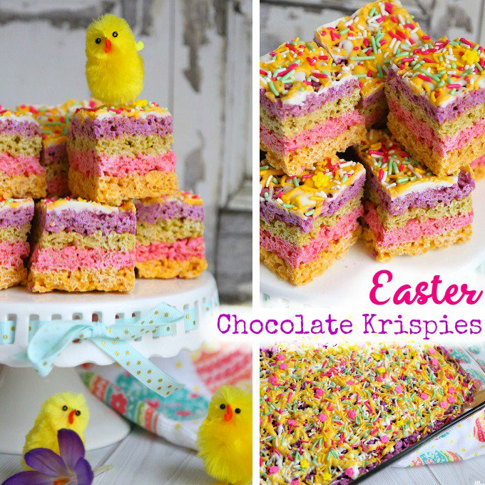Easter Rice Krispie Treats: Striped Pastel Chocolate Krispie Bars