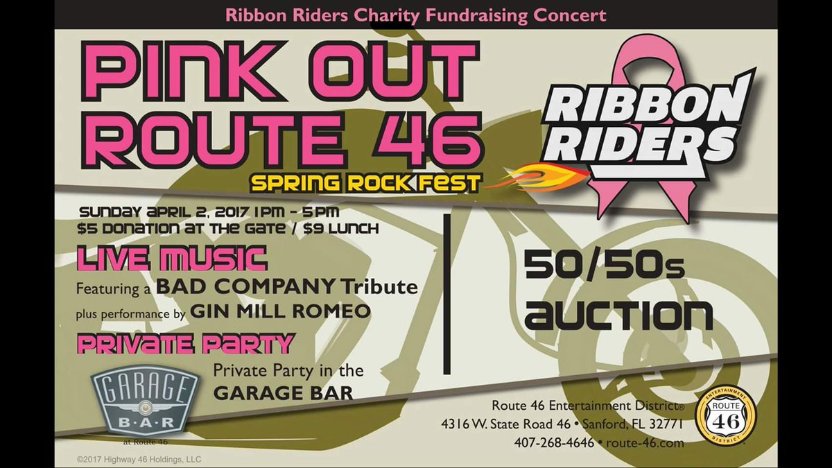 Ribbon Riders Fundraising Concert Pink Out Route 46 Sanford FL biker motorcycle charity event