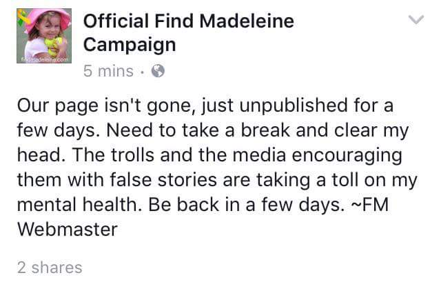 'WE CAN'T TAKE IT' Madeleine McCann's parents Kate and Gerry delete their Find Maddie Facebook account after barrage of abuse from trolls C7UCFgyX4AIF9TA