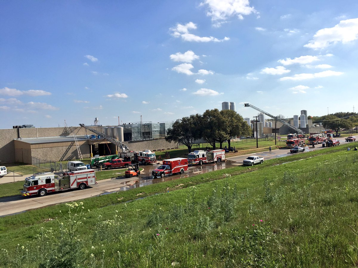 Firefighter's responding to 3-alarm fire at Dr. Pepper plant in Irving- NO smoke or flames visible.