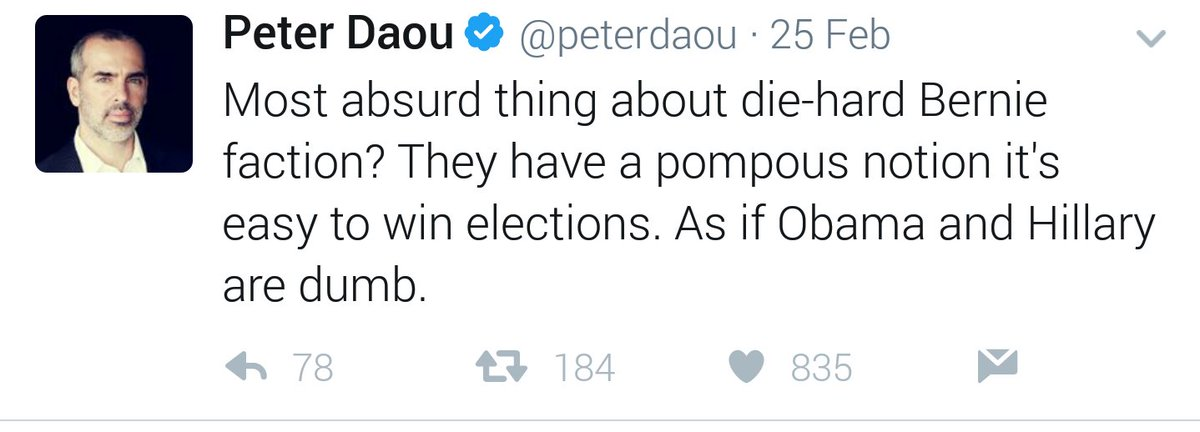 @peterdaou is the worst kind of neo-lib still beating the #hrc2016 drum and setting up failure for Dems in #2018 &amp; #2020 #shame<br>http://pic.twitter.com/my4ZD1lr2H