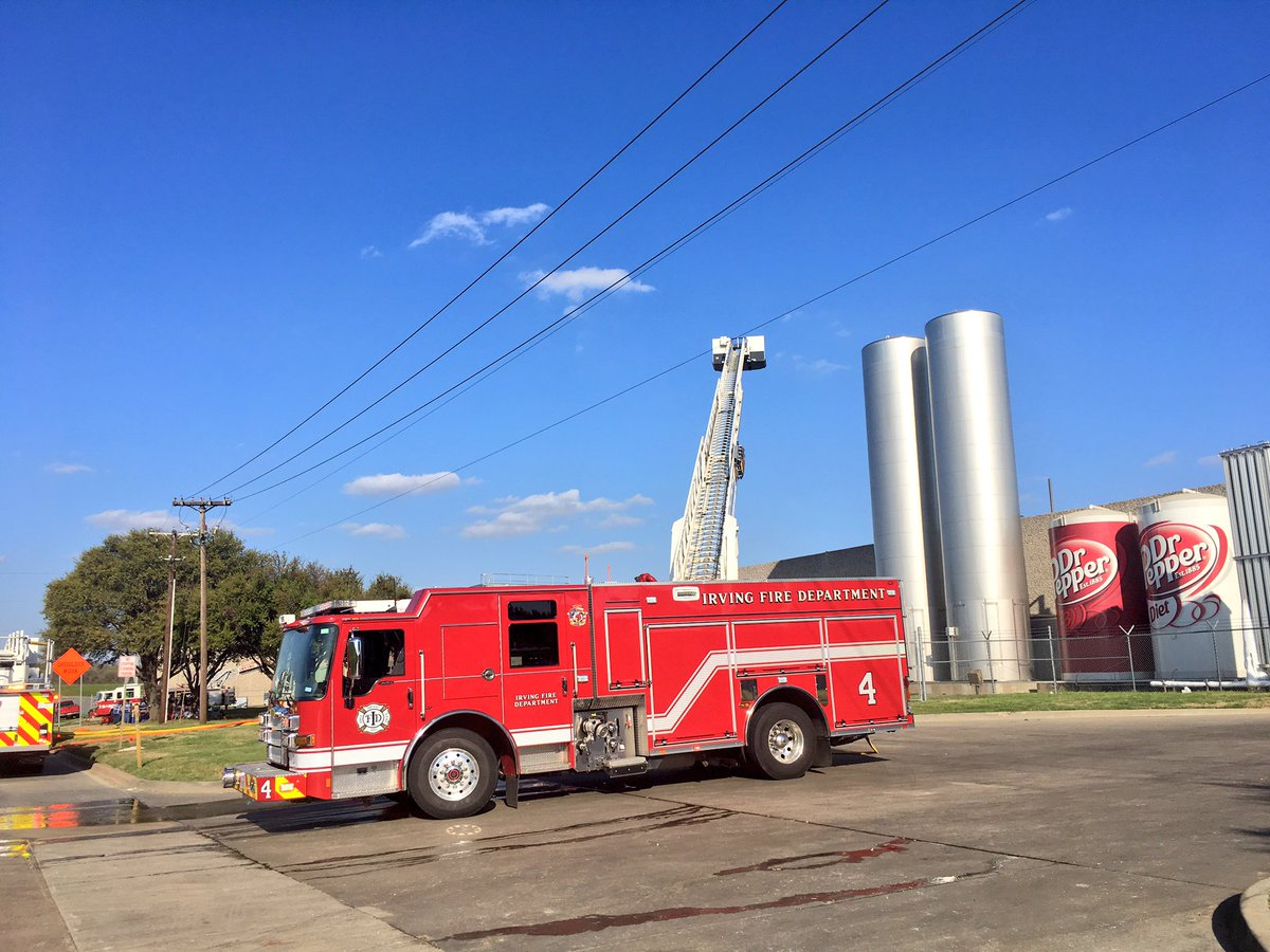 First of all, all the Dr. Pepper is SAFE. About 45 Irving firefighter's making sure of it. No injuries, fire only on roof, not inside plant