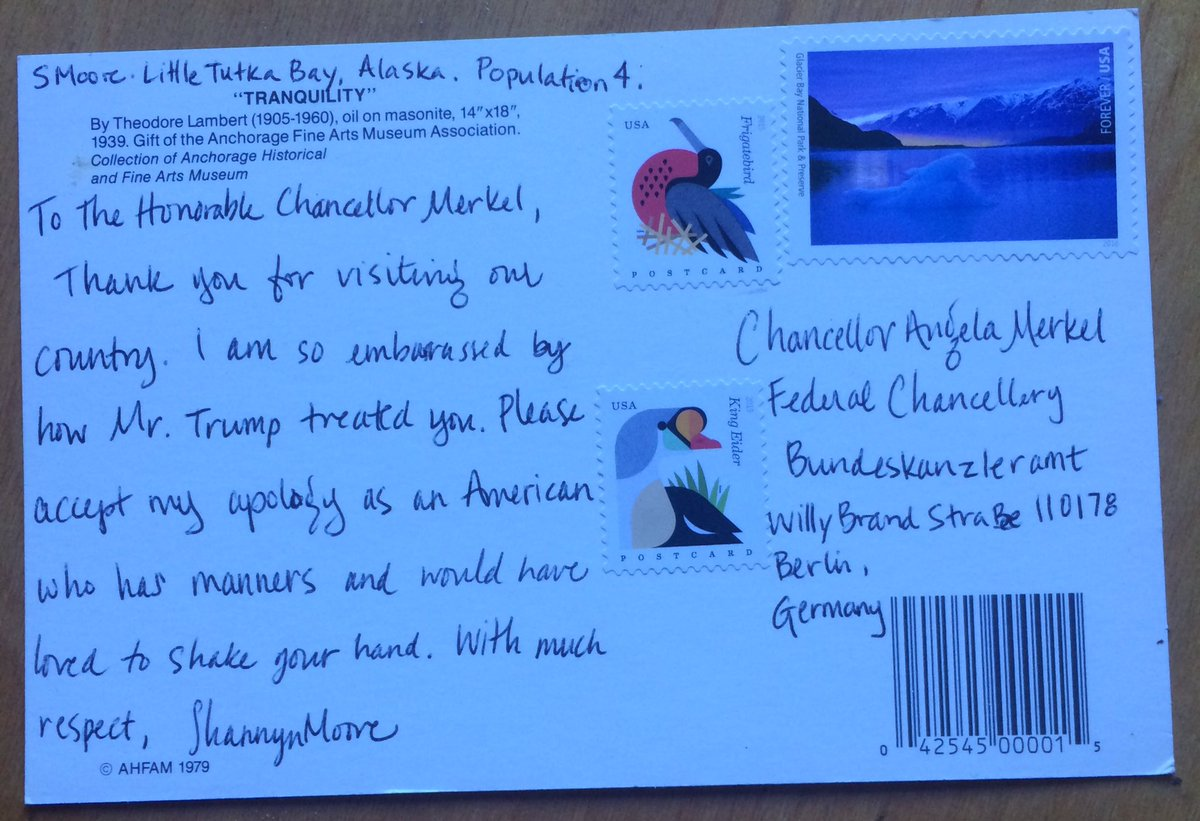 If you are sending Angela Merkel a postcard from the US it is $1.15 in stamps. Carry on, Tweethearts. https://t.co/uYrkBdSsMe