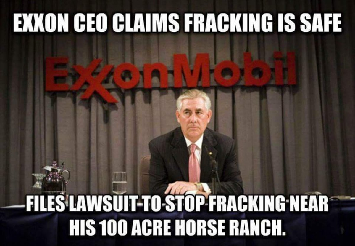 @RexTilllerson on fracking. Completely Safe... But not in my back yard  #thisisnotnormal  #TrumpRussia  #DontheCon<br>http://pic.twitter.com/lNTsY9c41f