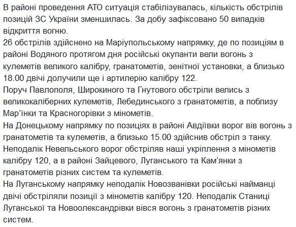 50 attacks of Russian forces on Ukrainian positions yesterday
