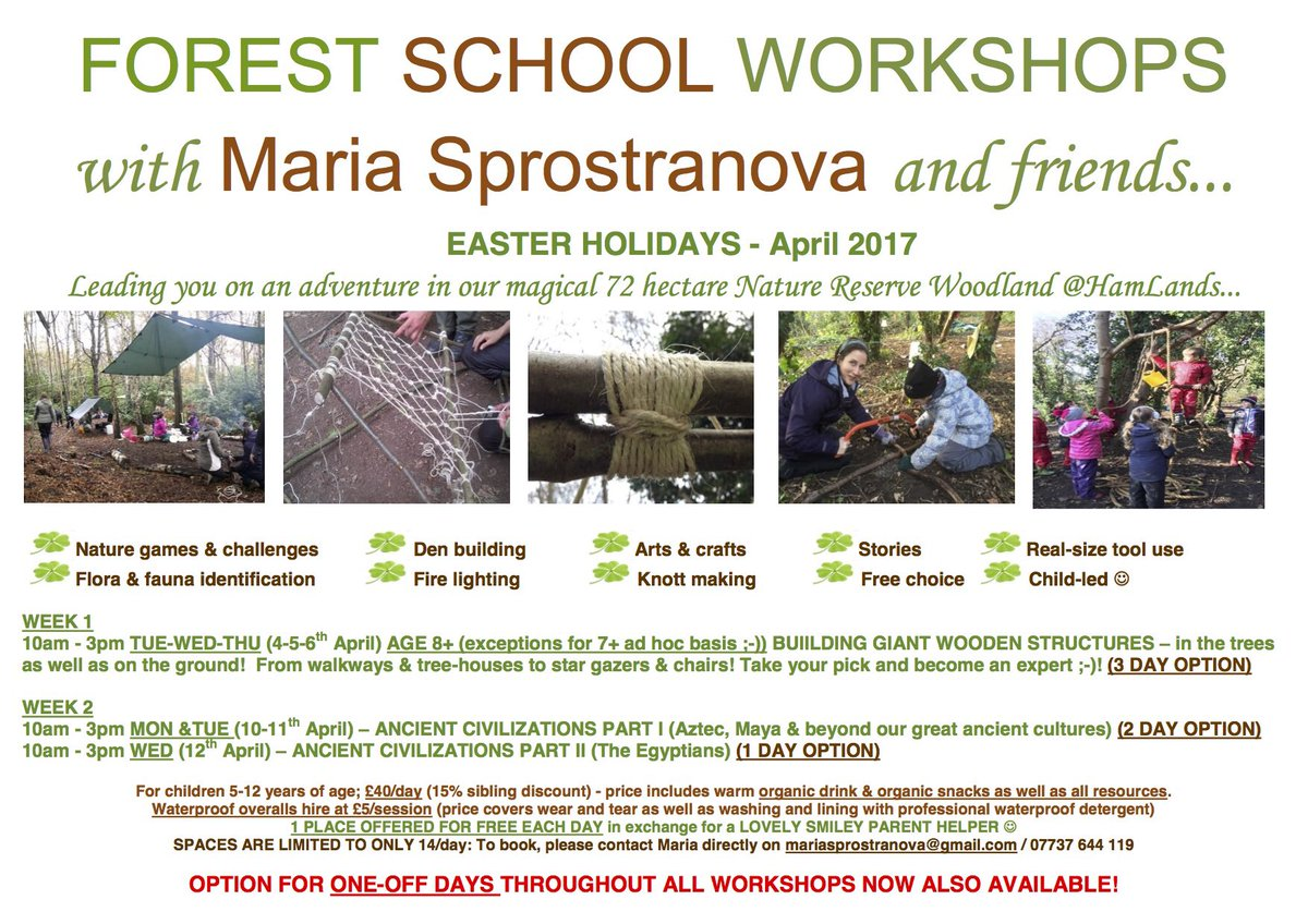 #InternationalDayOfHappiness Join us for some #wildtime #FUN  #EasterHoliday #ForestSchool #workshops especially set up for @AlexandraschKT<br>http://pic.twitter.com/erX3dMCTHf