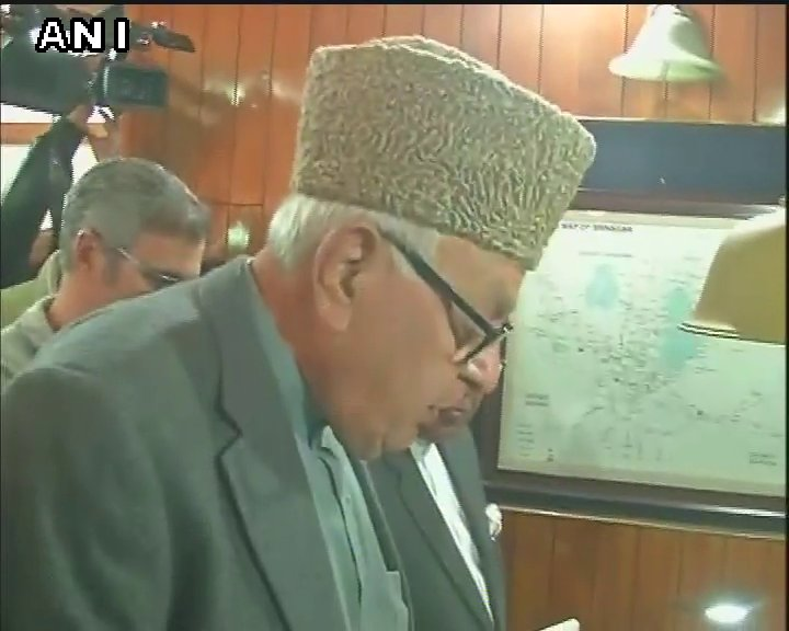 National Conference leader Farooq Abdullah and PDP candidate Nazir Ahmad filed their nomination papers for Srinagar Lok Sabha by-polls