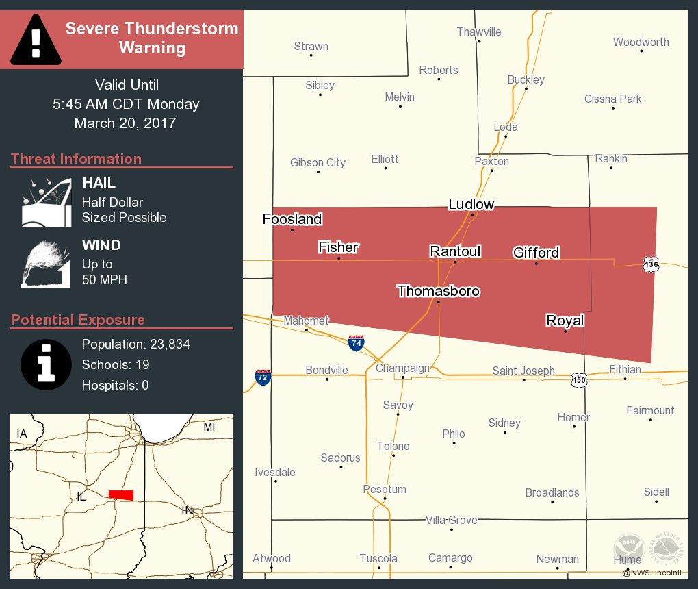 Severe Thunderstorm Warning including Rantoul IL, Fisher IL, Thomasboro IL until 5:45 AM CDT