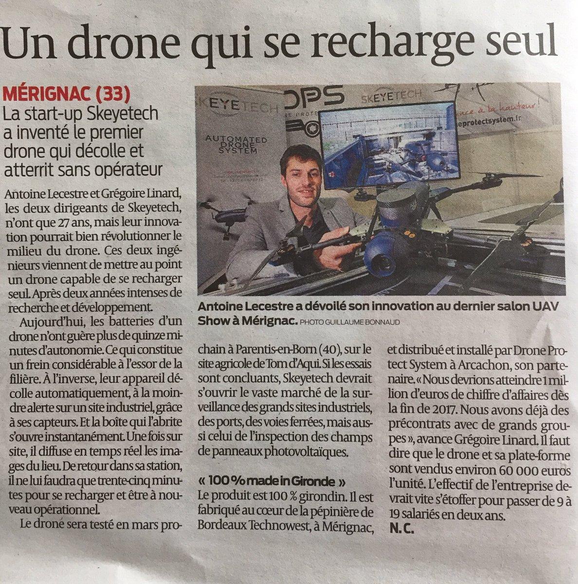 """Zoom sur @skeyetech dans le dossier """"Drones"""" aujourd'hui dans @SO_Bordeaux"""