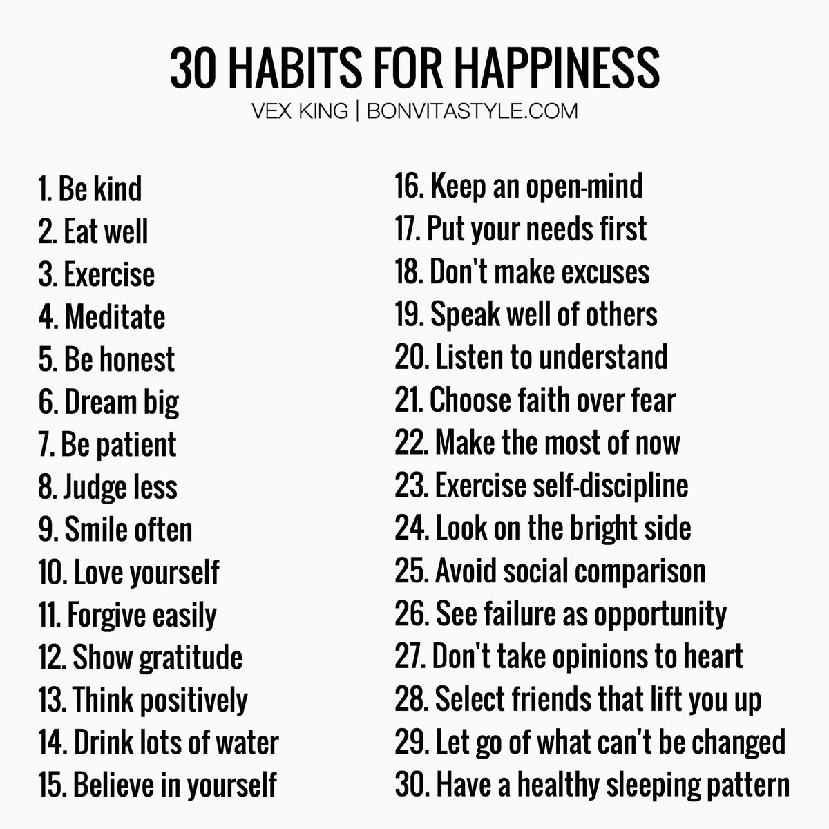30 Habits For Happiness by @VexKing #InternationalDayOfHappiness
