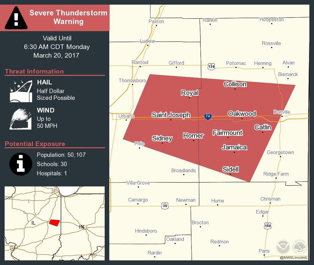 Severe Thunderstorm Warning including Saint Joseph IL, Catlin IL, Oakwood IL until 6:30 AM CDT