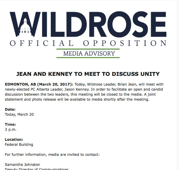 Wildrose-PC coordination has begun already. Identical notices about to...