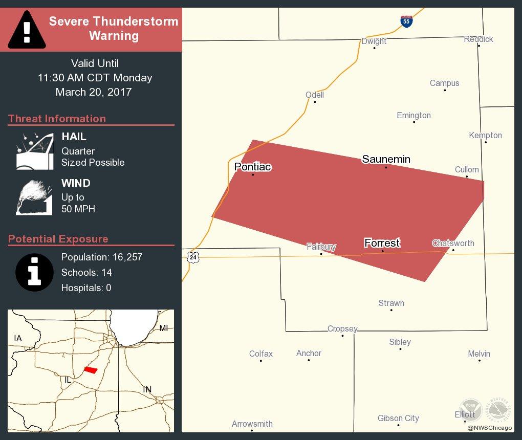 Severe Thunderstorm Warning including Pontiac IL, Forrest IL, Saunemin IL until 11:30 AM CDT