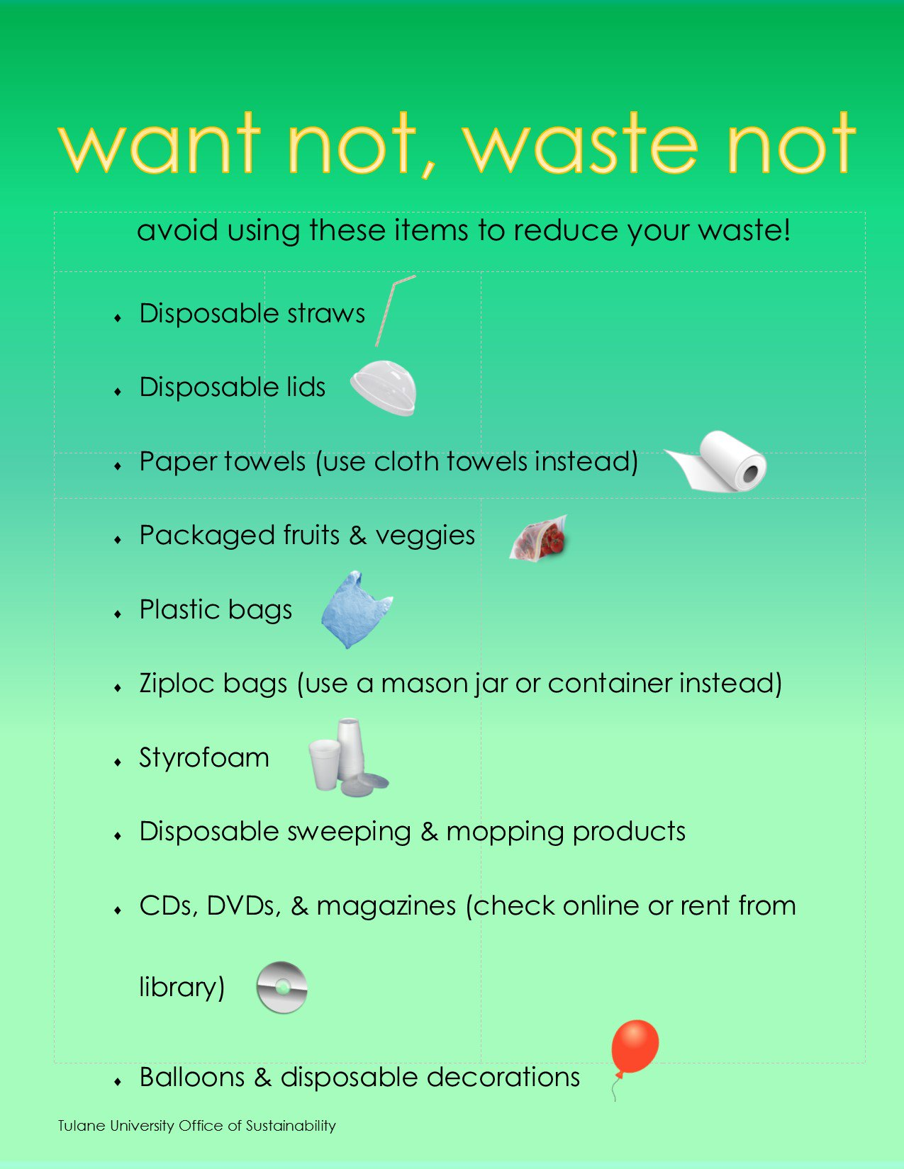 #SpringCleaning tip: get rid of these wasteful items! @TulaneLaw, show us how you reduce waste! #tulanerecycles @RecycleManiacs https://t.co/YUjBTJhwa7
