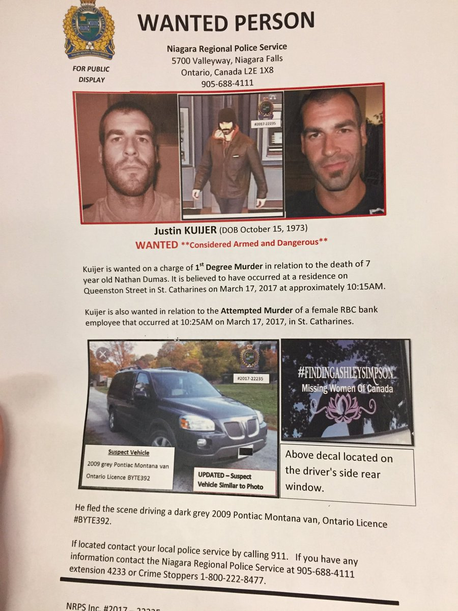 Latest details on Canada wide warrant for Justin Kuijer, wanted for 1s...