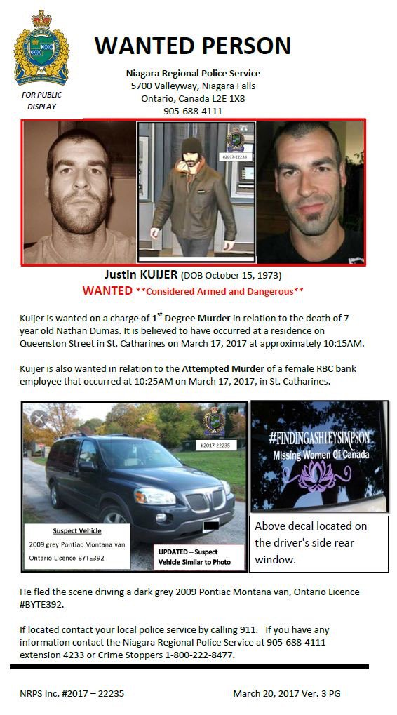 Niagara Police release updated wanted poster for Justin Kuijer.  Detai...