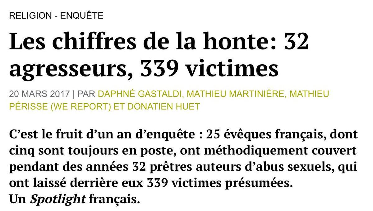 Mediapart révèle que l'église a couvert 32 prêtres auteur d'abus sexuels laissant derrière eux 339 victimes