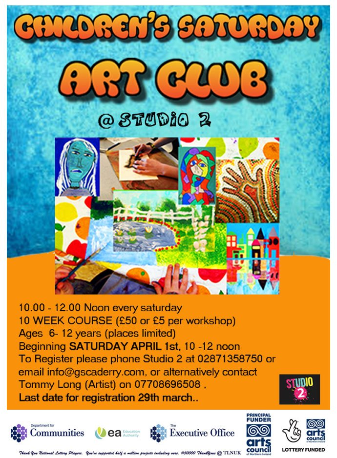 #New #Childrens #Saturday #Morning #Art #Club @Studio2Derry  for children aged 6-12 years begins Saturday 1st April <br>http://pic.twitter.com/ffm3sgXZrP