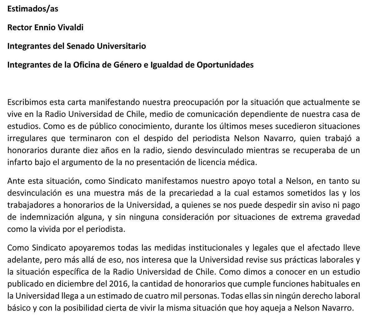 Honorarios uchile on twitter compartimos carta que enviamos a las autoridades por situaci n en la radio u de chile https t co 35fau5mz0t