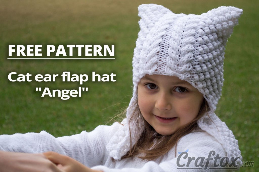 Craftox Com On Twitter Cat Ear Flap Hat Angel Free Knitting