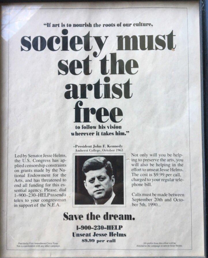 1990 @NewYorker ad to unseat Jesse Helms. #SavetheNEA #ArtsAdvocacy @Americans4Arts https://t.co/X8Pp8TvVFP