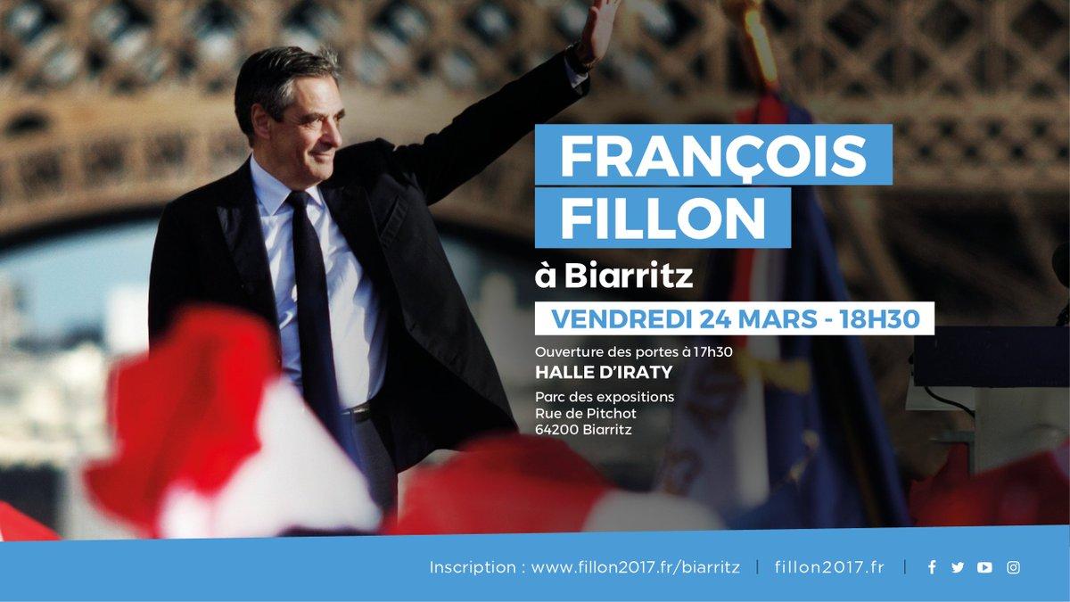 Je vous donne rendez-vous vendredi à 18h30 aux Halles d'Iraty de Biarritz. Inscription : fillon2017.fr/Biarritz