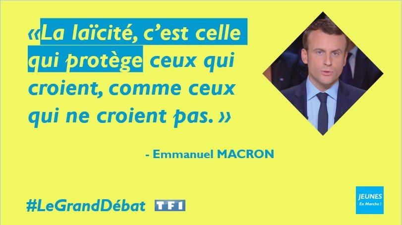 La laïcité est avant tout une liberté. @EmmanuelMacron y est fidèle. #LeGrandDebat #DebatTF1