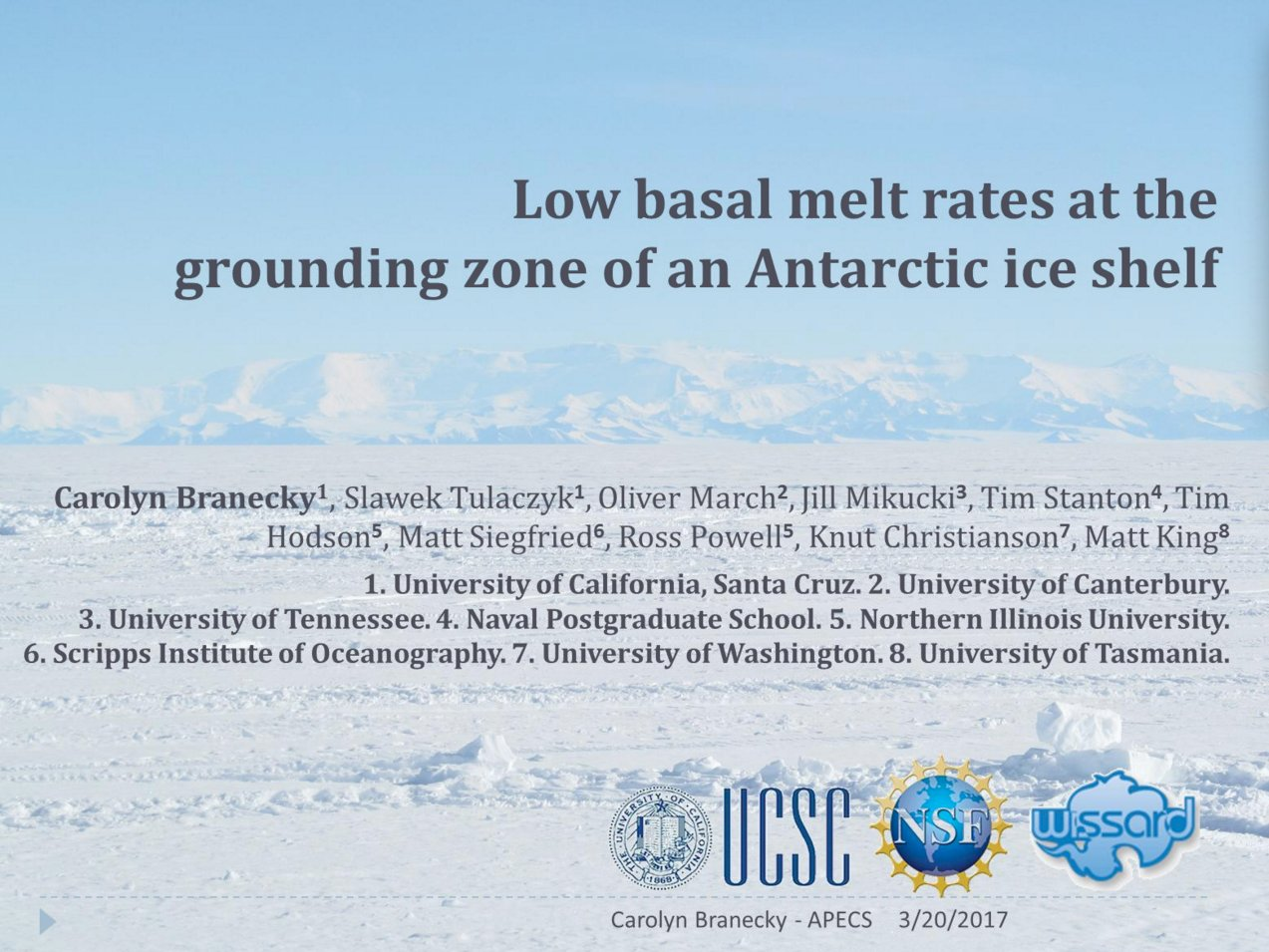 From the #Arctic to the #Antarctic! Carolyn Branecky on Low Basal Melt Rates at the Grounding Zone of an Antarctic Ice Shelf #APECS17 https://t.co/KYu2rHz6IX