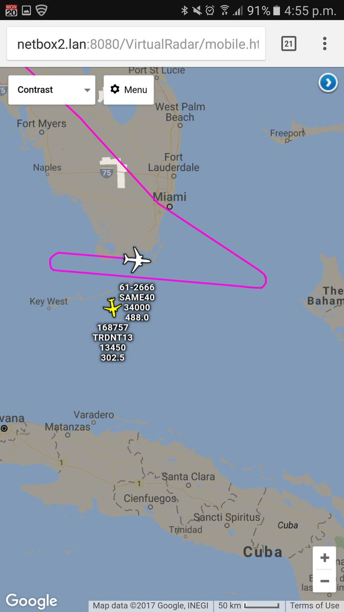 Rivet Joint Testbed NC135W off the Florida Keys with a US Navy P-8A Poseidon close by