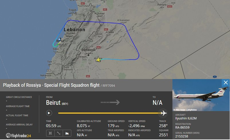 RuAF IL-62M RA86559 VIP plane from Beirut to Damascus this morning with some EU and Chechen politicians