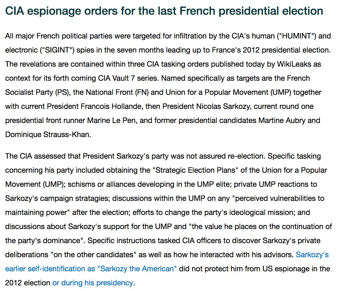 .@wikileaks: CIA espionage orders for the last French presidential election (archive)