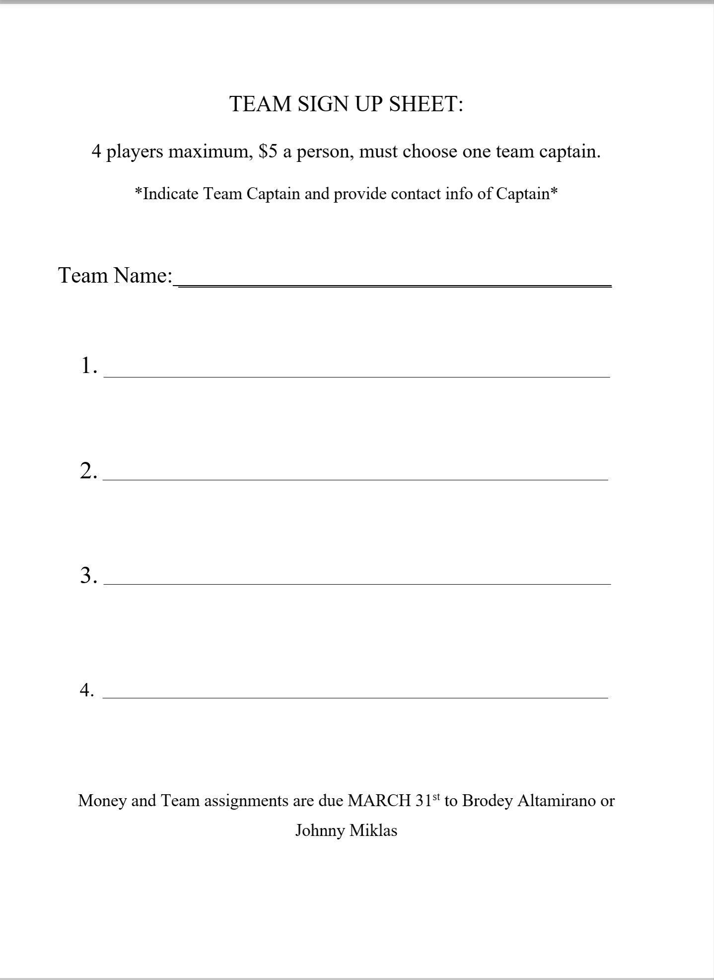 team sign up sheet – Team Sign Up Sheet