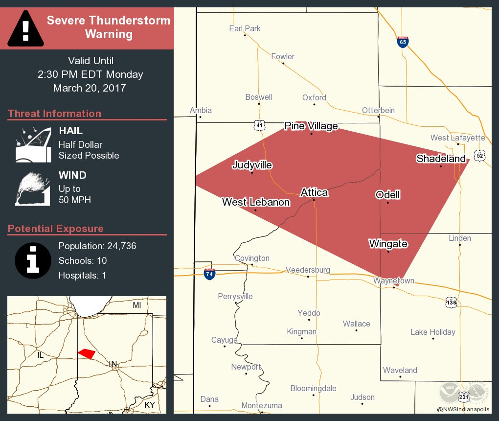 Severe Thunderstorm Warning including Attica IN and Williamsport IN until 2:30 PM EDT
