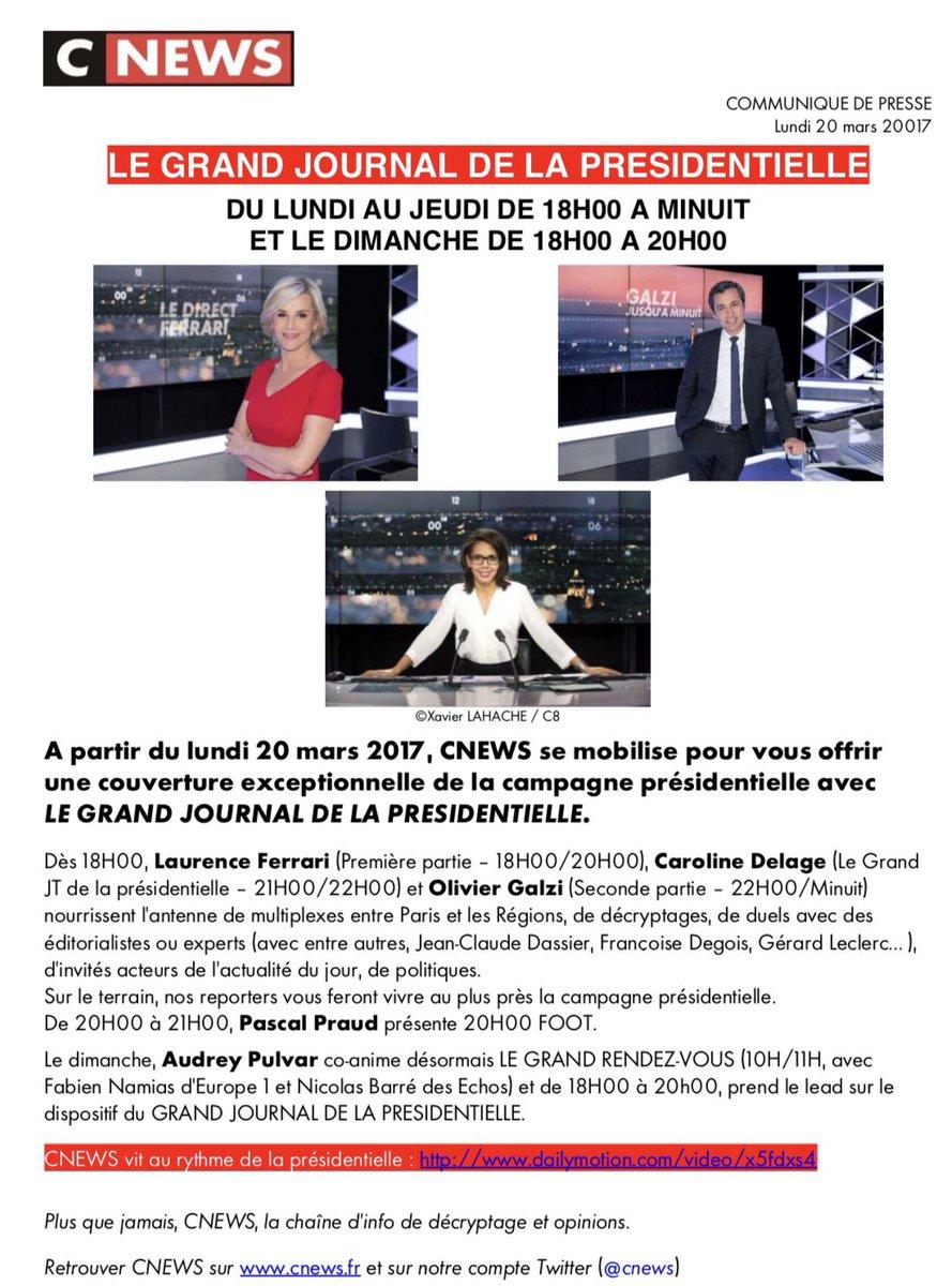 Sur @CNEWS, suivez l&#39;actualité politique avec LE GRAND JOURNAL DE LA PRÉSIDENTIELLE  http://www. dailymotion.com/video/x5fdxs4  &nbsp;   #pol #compol #cnews<br>http://pic.twitter.com/qk1jgxCCsn