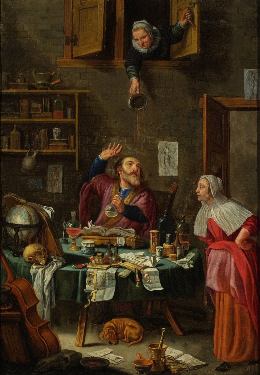 """While uroscopy was a commonly used method, images of these """"piskijkers"""" (piss examiners) were often eroticized exaggerations #MuseumMonday https://t.co/3zsBhI7A1L"""