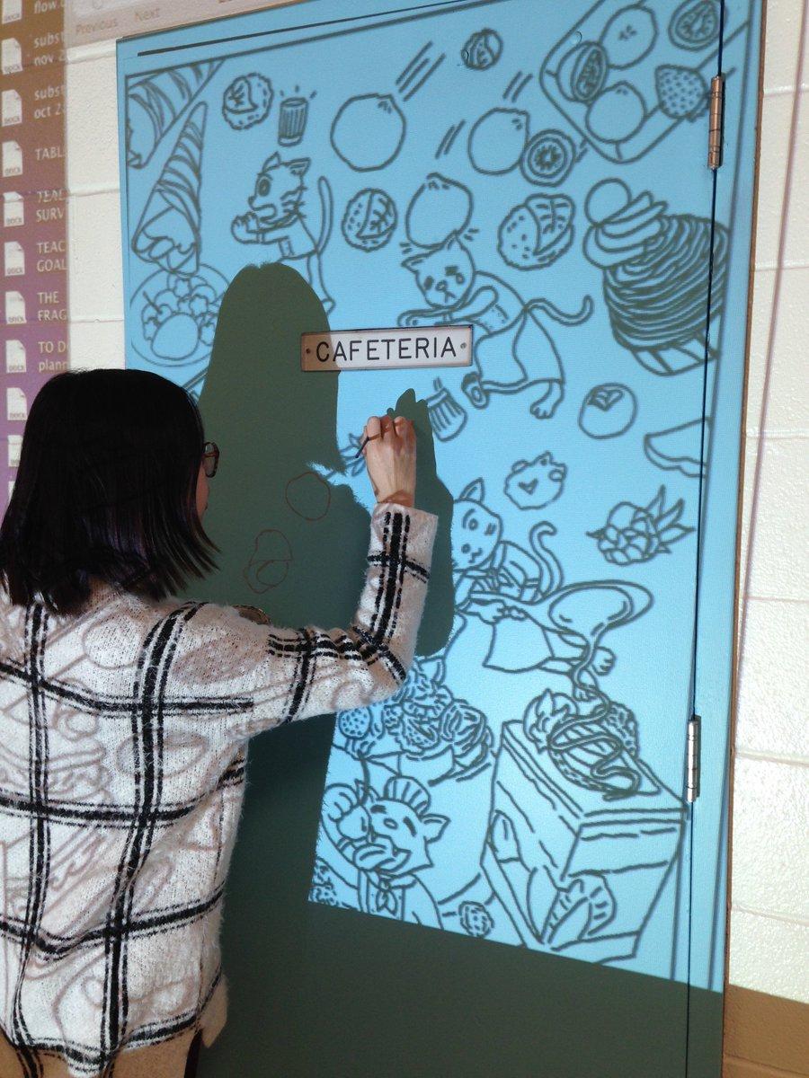 #SirJAMac beautification continues. Enter our cafeteria! #artmatters #art #design #environment #SHSM @Tsahai_Daley @LC2_TDSB @tdsb<br>http://pic.twitter.com/pQI9KnLp3L