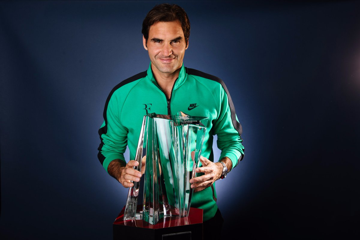 Image result for indian wells federer trophy 2017 twitter