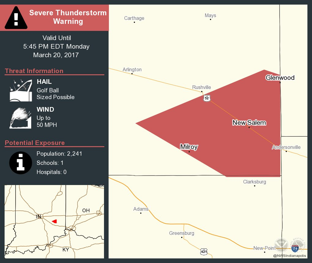 Severe Thunderstorm Warning including Milroy IN, Glenwood IN, New Salem IN until 5:45 PM EDT