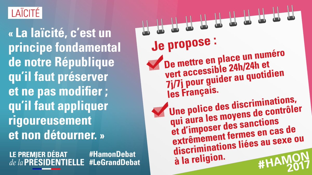 .@benoithamon «Je suis pour la loi de 1905 toute la loi de 1905 rien que la loi de 1905» #HamonDebat