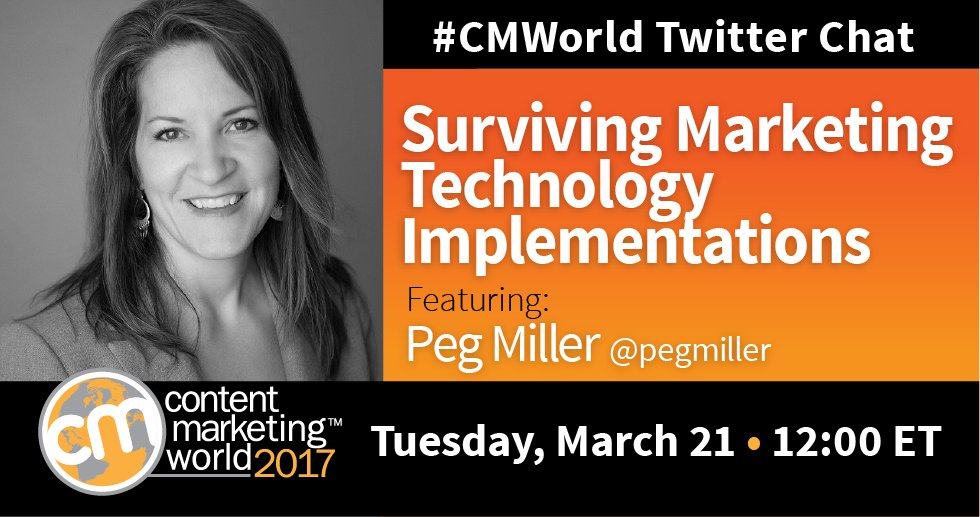 STARTING NOW! A #CMWorld chat with special guest @pegmiller. Let's discuss marketing technology implementation. https://t.co/pwr4fYrEYZ