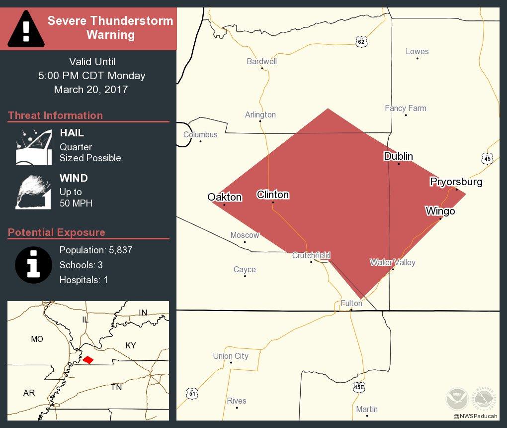 Severe Thunderstorm Warning including Clinton KY, Wingo KY, Pryorsburg KY until 5:00 PM CDT