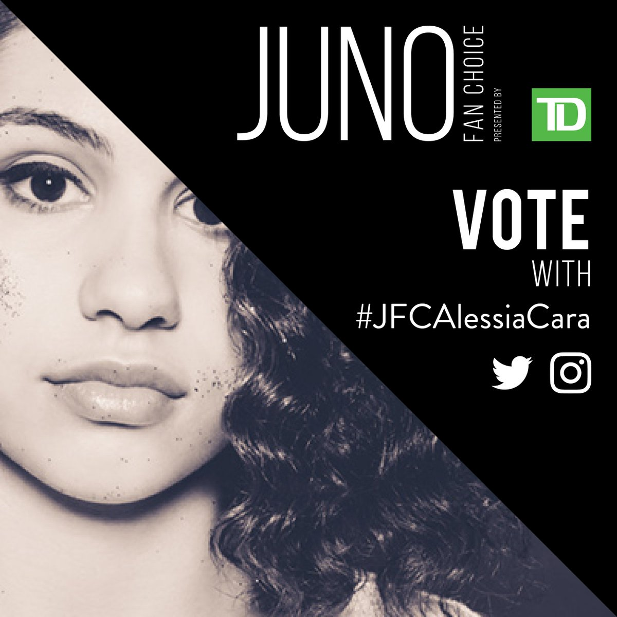 RT to vote for @alessiacara for JUNO Fan Choice Award presented by @TD...