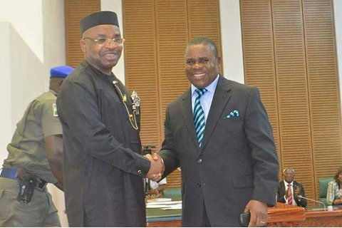 Gov Emmanuel swore in Justice Abraham, as Akwa Ibom Acting Chief Judge, seeks open channel of communication between Legislature, Executive & Judiciary.