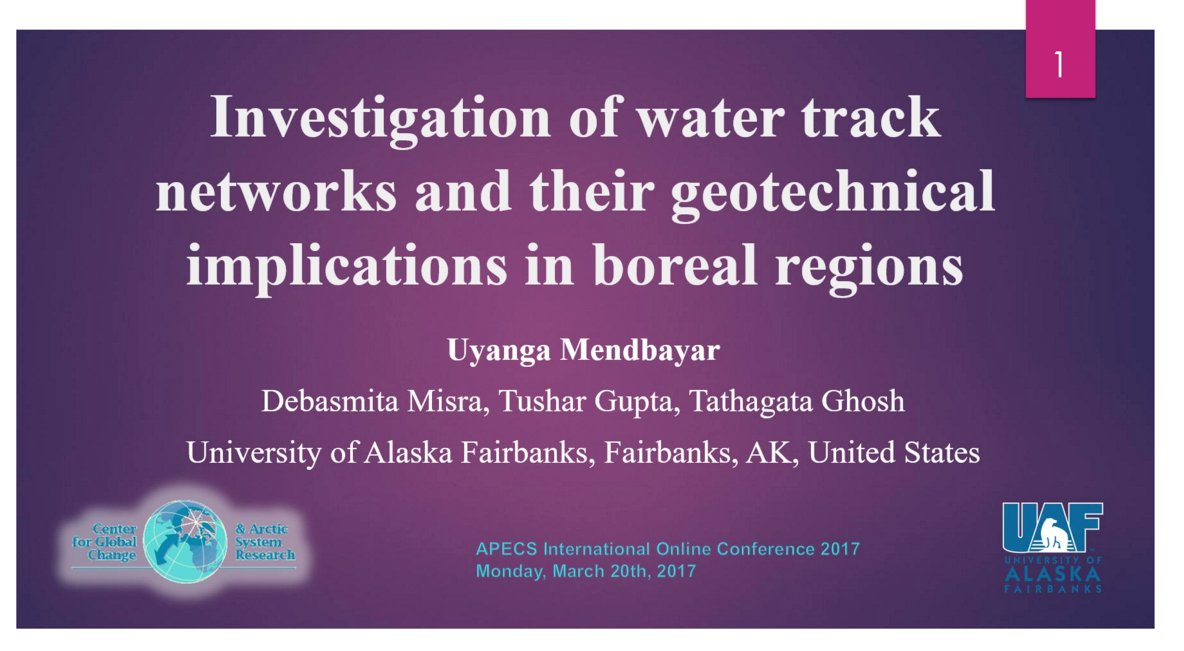 "Hearing from Uyanga Mendbayar on ""Investigation of Water Track Networks and their Geotechnical Implications in #Boreal Regions""  #APECS17 https://t.co/N8GAKblnXH"