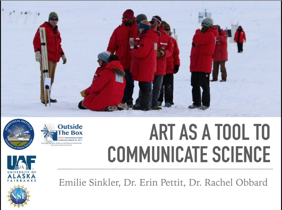 Hearing about using #art to communicate your #science here at #APECS17 Online Conference #Antarctica #WAIS -E Sinkler @uafairbanks #scicomm https://t.co/dhdu8iex1t
